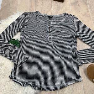 Lucky Brand Striped Long Sleeve Henley Top D3005